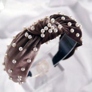 Brown Velvet Pearl Top Knot Headband New